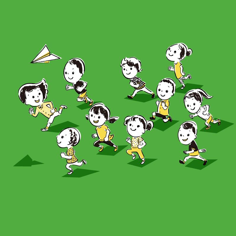 走っている 子供たち